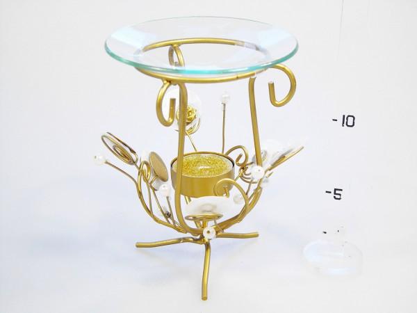 Svícen kov-sklo zlatý