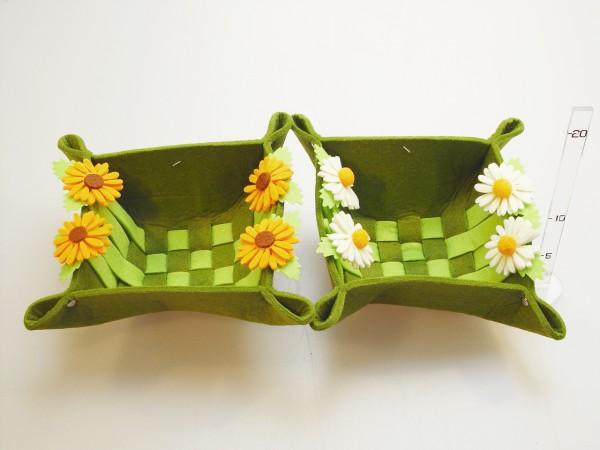 Košík filc.dekor kvety 2druhy