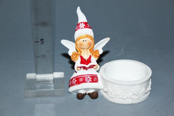 Anjel bielo-červený svietnik