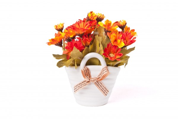 Květ umělý v květináči taška